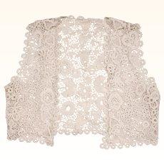 Antique Edwardian Irish Crochet Lace Vest