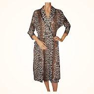 Vintage 1950s Leopard Print Lounging Robe - Size M