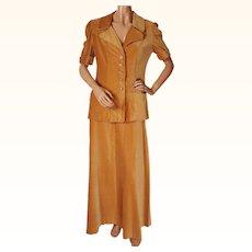 Vintage 60s Velvet Suit w Maxi Skirt by Margaret Godfrey for Bagatelle Size M