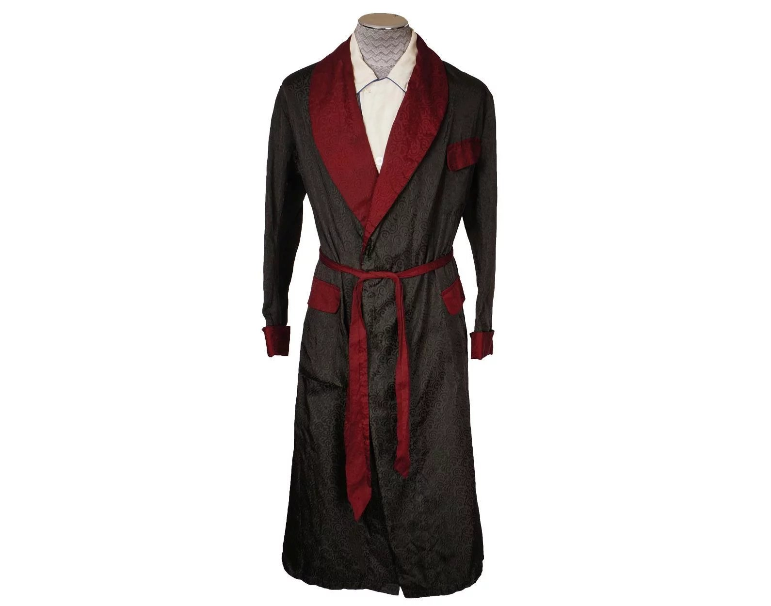 Vintage 1940s Mens Dressing Gown Green and Maroon Damask Made in ...