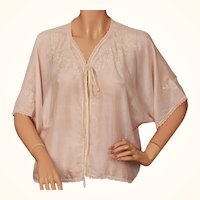Vintage Pink Silk Bed Jacket w Embroidered Flowers c 1920s