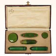 Art Deco French Celluloid Vanity Travel Set Clé Ber Paris Cosmetic Case