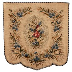 Antique Victorian Hand Embroidered Fireplace Screen Floral Embroidery