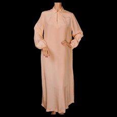 Vintage 1920s Pink Silk Nightie Night Shirt Style Size Large