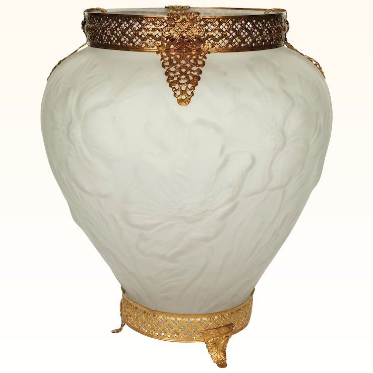 Consolidated Art Glass Martele Line Vase With Ormolu Mount Poppies