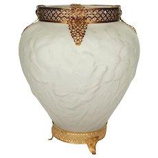 Tiffin Art Glass Vase with Ormolu Mount - Poppy