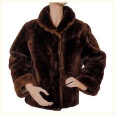 Vintage Mouton Jacket Brown Sheared Lamb Fur Ladies Size Small