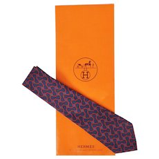 Vintage Hermes Tie Silk Twill Chain Pattern 964 SA Mens Necktie Made in France