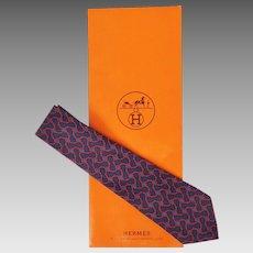 Vintage Hermes Tie Silk Twill Chain Pattern 964 SA Mens Necktie Made in France
