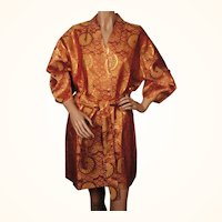 Vintage 60s Japanese Kimono Jacket Woven Metallic Fabric Size M L