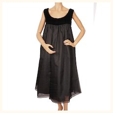 Vintage 1960s Black Evening Dress Tent Style Size M 10