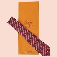 Vintage Hermes Tie Silk Twill 951 IA Horsebit Pattern Maroon Necktie France