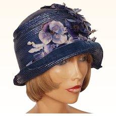 Vintage 1920s Blue Straw Cloche Hat Steigers Springfield Massachusetts Ladies Size S