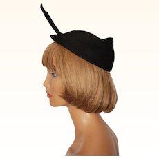 Vintage 1940s Black Felt Wing Hat Andree Inc Montreal Ladies Size M
