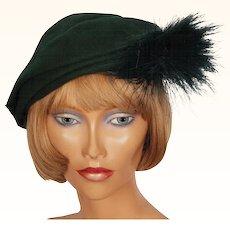Vintage 1950s Ladies Hat Green Felt by Vogue de Paris Montreal
