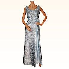 Vintage 1960s Blue Eyelash Tinsel Evening Dress Gown Length Size L