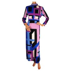 Vintage 1970s Mod Maxi Dress by Paganne Gene Berk - Pucci Style Geometric Print - Size M 8 - Red Tag Sale Item