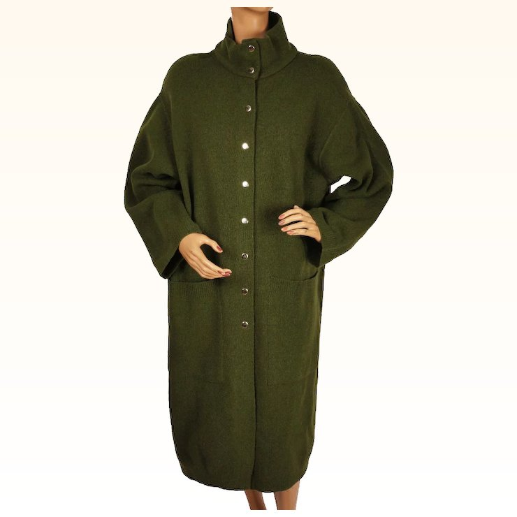 e17be598053 Vintage 1980s Dorothee Bis Sweater Coat - Olive Green   Poppy s ...