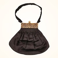 Vintage 1940s Black Wool Handbag by Guild Creations