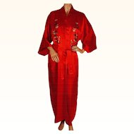 Vintage 1960s Blue Chinese Silk Dressing Gown Robe - Cherry Blossom ... 53145227f