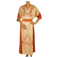 Vintage 1920s Ethnic Day Dress -  Rope Embroidered Woven Cotton - Size M