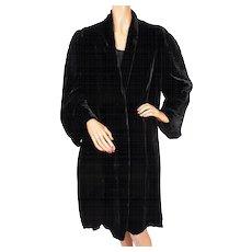 Vintage 1930s Black Velvet Coat by Sally Milgrim Silk Lined Ladies Size M - Red Tag Sale Item