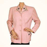 Vintage 1940s Ladies Suit Jacket Pink w Black Beading Size M
