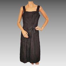 Vintage 1950s Black Silk Chiffon Couture Cocktail Dress by Roger & Gallet Paris Size M