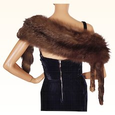 Vintage 1930s Silver Fox Fur Stole Wrap Shoulder Shrug with Head and Tail