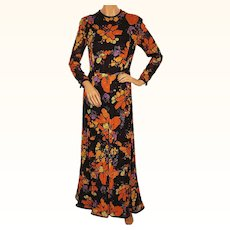 Vintage 1970s Maxi Dress - Floral Print by Vali - Size M