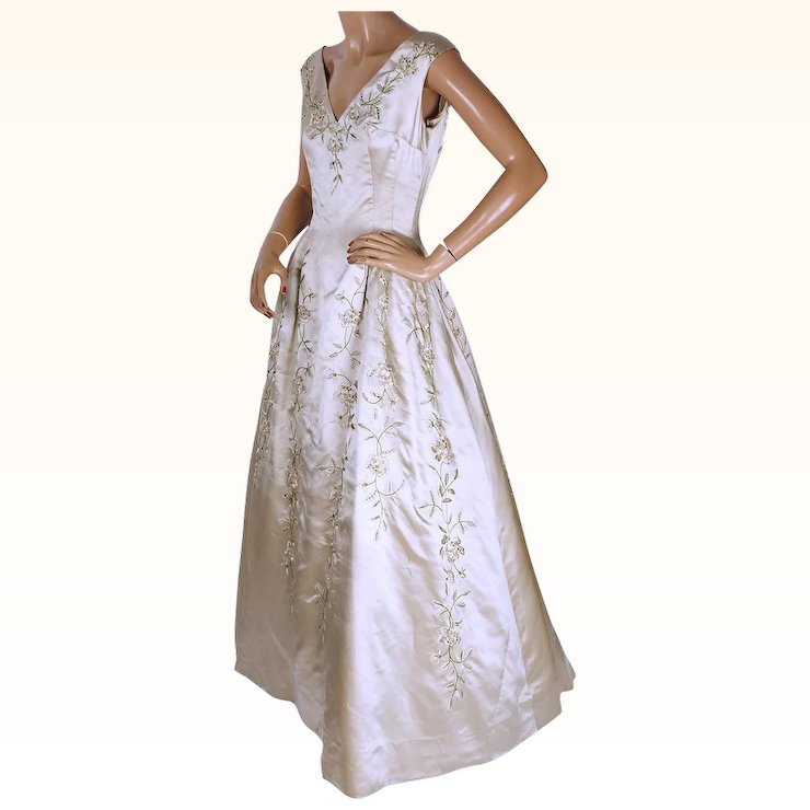 Vintage 1960s Canadian Couture Silk Ball Gown Norbert Niewelt ...