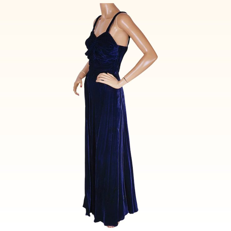 Vintage 1940s Evening Gown Blue Velvet Dress by Blanes of London ...