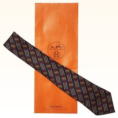 Vintage Hermes Tie Silk Twill 695 OA Belt Pattern Mens Necktie Made in France