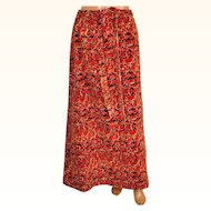 Vintage Lilly Pulitzer Maxi Skirt 1960s Printed Velvet Cats Fruit Flowers Size M