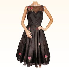 Vintage 1950s Dress by Rappi Black Organza with Embroidered Roses Size S / M