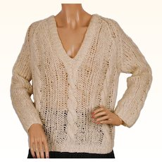 Vintage Lord & Taylor Mohair Wool Sweater White Pullover Style 1960s Hand Made in Italy Size M