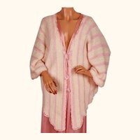 Vintage 1920s Crochet Wool Bed Jacket w Pink Rayon Yarn