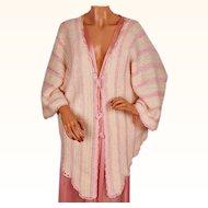 Vintage 1920s Crochet Wool Bed Jacket w Pink Rayon Yarn