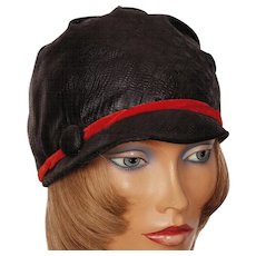 Vintage 1960s Black Satin Cloche Hat