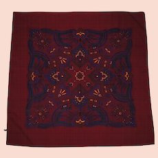 """Vintage Mens Silk Opera Scarf 1940s Printed Maroon Foulard 35"""" Square Made in England"""
