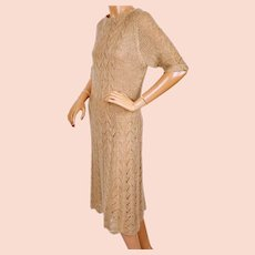 Vintage Mohair Wool Knit Sweater Dress Tan w Gold Fleck 1960s Size M