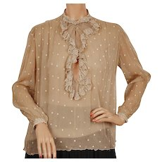 Vintage 1940s Silk Chiffon Blouse w Embroidered Polka Dots & Lace - Maryvonne - Paris M - Red Tag Sale Item