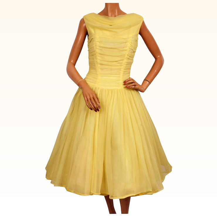 Vintage 1950s Yellow Nylon Party Prom Dress Size Medium : Poppy\'s ...