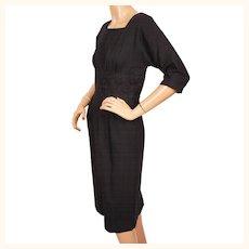 Vintage 1950s Dress Black Wool w Lace Midriff Size S / M