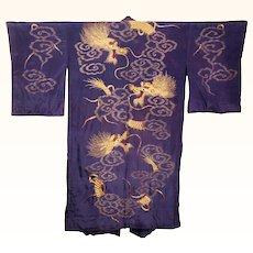 Antique Japanese Murasaki Violet Silk Kimono w Gold Dragon Embroidery Robe Large