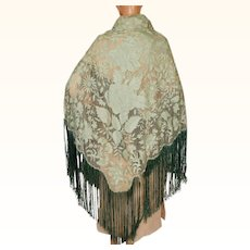 Vintage 1920s Green Silk Lace Shawl with Fringe
