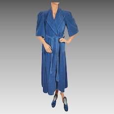 RESERVED Vintage 1930s Robe Blue Chenille Dressing Gown w Matching Slippers Size M