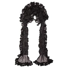Antique Victorian Black Silk Neck Ruff Lappet Collar