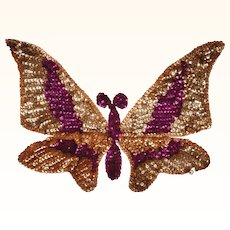 Vintage 1940s Sequin Butterfly Applique Hand Sewn Unused Old Stock