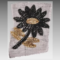 Vintage Sequin Flower Applique 1940s Hand Sewn Unused NOS